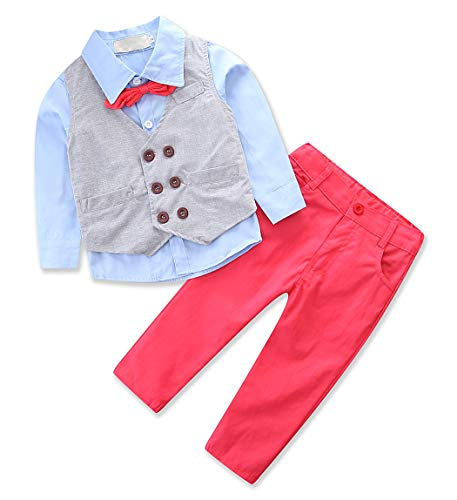eb40e9cd4 Suits – AmzBarley Baby Boys Classic Suits Formal Dress Wear Wedding Party  Toddler Kids Clothing Sets with Vest Pants Shirts and Tie Long Sleeves  Gentleman ...