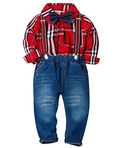 566c5588a Tuxedos – ZOEREA Toddlers Baby Boys Kids Formal Outfit Suit Set, Plaids  Shirt + Suspender Pants + Bow Ties (0-7 Years) Red Offers