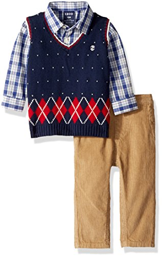 IZOD Infant Baby Boy/'s Sweater Vest Set with Woven Long Sleeve Shirt /& Pants